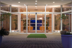 Hotel entrance. Shot of hotel entrance at night Royalty Free Stock Photo