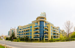 Hotel at the entrance to Pomorie in Bulgaria Royalty Free Stock Image