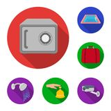 Hotel and equipment flat icons in set collection for design. Hotel and comfort vector symbol stock web illustration. Hotel and equipment flat icons in set Royalty Free Stock Images