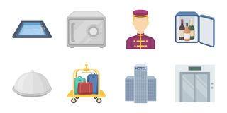 Hotel and equipment icons in set collection for design. Hotel and comfort vector symbol stock web illustration. Hotel and equipment icons in set collection for Stock Images