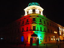 Hotel Europa at night, Lublin, Poland Royalty Free Stock Images