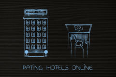 Hotel ext to user with laptop leaving a positive review Stock Image
