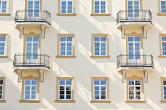 Hotel exterior. Hotel facade, windows and balconies Royalty Free Stock Photo