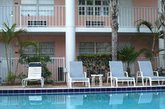 Hotel Exterior. Exterior pool area of hotel royalty free stock image