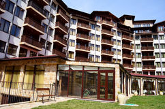 Hotel exterior.Mountain hotel with wooden balconies Stock Images