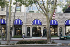 A Hotel. Façade of the Hotel located at Wilshire Boulevard in Beverly Hills, LA, CA. with Blue and white stripes window pane Stock Photography