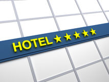 Hotel five stars. Detail of a five stars hotel with reflecting sky and palm trees Stock Photo