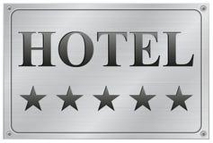 Hotel five stars signboard. Vector illustration of metal hotel five stars signboard on white background stock illustration