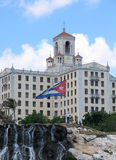 Hotel and flag. A view Habana National Hotel and cuban flag Stock Photography
