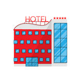 Hotel in Flat style isolated on white background Vector Illustration Royalty Free Stock Photo