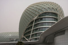 Hotel in the fog of the Yas Marina Complex Stock Images