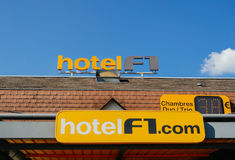 Hotel Formula 1 signage on the roof of a cheap hotel stock images