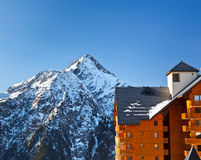 Hotel in French Alps. Hotel near peak of Roche de la Muzelle in French Alps Royalty Free Stock Photography