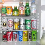 Hotel fridge bar. Tokyo, Japan - July 05, 2004: Hotel fridge bar in Tokyo stock photo
