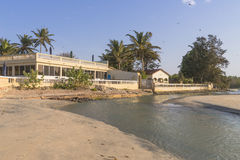 Hotel in Gambia. Hotel resort on the coast of the Atlantic Ocean in Gambia. Africa royalty free stock photo
