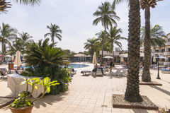 Hotel in Gambia. Hotel resort on the coast of the Atlantic Ocean in Gambia. West Africa stock photography