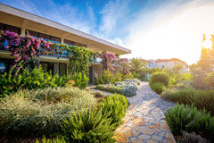 Hotel garden and terrace Royalty Free Stock Images