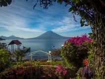 Hotel Gardens with Lake View. Beautiful gardens overlooking the Volcano at a hotel at Lake Atatlan, Guatemala Stock Images