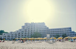 The hotel Gergana, Black Sea shore, seaview, placed on the beach. Albena, Bulgaria Stock Photography