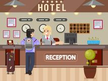 Hotel girl receptionist answers questions traveler guest reception desk flay design vector illustration Stock Photo