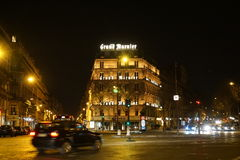 Hotel Grand Marnier, Paris. Night scenery  in January, the New Year Holydays Royalty Free Stock Images