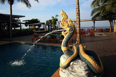 The hotel grounds, swimming pool and trees, Phra Ae Beach, Ko Lanta, Thailand Royalty Free Stock Photography