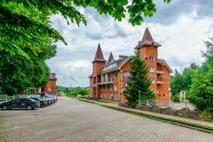 Hotel Guamka exterior view. Mountain resort in West Caucasus, Russia stock photos