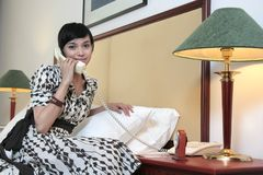Hotel guest calling royalty free stock photo