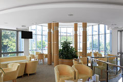 Hotel hall. Seating area interior in modern hotel hall Royalty Free Stock Image