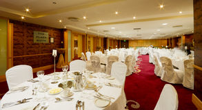 Hotel Hall interior with round tables Stock Images