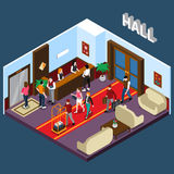 Hotel Hall Isometric Illustration. Hotel staff and tourists in hall with red carpet elevator reception and waiting area isometric vector illustration stock illustration
