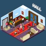 Hotel Hall Isometric Illustration Stock Images