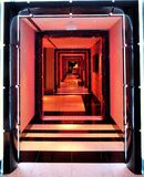 Hotel hallways. Amazing colour fade lighting in the hallways Royalty Free Stock Image