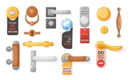 Free Hotel Handle Door Room Set. Door Knobs With Do Not Disturb Sign. Doorknob Handle To Lock Doors At Home Ofiice Hotel Royalty Free Stock Image - 182801406