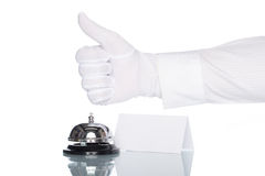 Hotel has a good service, Check in desk. Service bell on the Check in desk with white background, good service Royalty Free Stock Photo