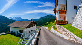 Hotel at the height of the mountains Royalty Free Stock Photo