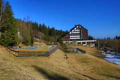 Hotel Horizont, Špi�ák, ski resort, Bohemian Forest (Šumava), Czech Republic Stock Photo
