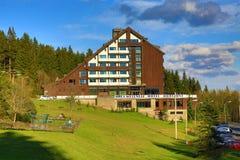 Hotel Horizont, Spring Landscape, Špičák, Bohemian Forest (Šumava), Czech Republic Stock Photography
