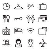 Hotel, hostel, motel icons. Vector illustration graphic design royalty free illustration
