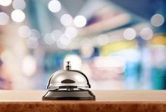 Hotel. Bell hospitality travel desk business counter stock image