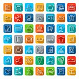 Hotel, hotel services, linear colored icons. Stock Photos