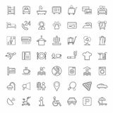 Hotel, hotel services, monochrome linear icons, white background. Royalty Free Stock Images