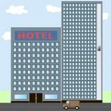 hotel Hotelikone auf Stadtlandschaft Sommerferienlandschaft Lizenzfreie Stockfotos
