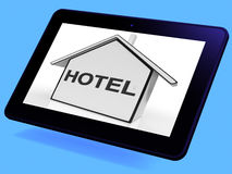 Hotel House Tablet Shows Holiday Accommodation And Units Stock Image