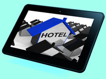 Hotel House Tablet Shows Place To Stay And Units Royalty Free Stock Image