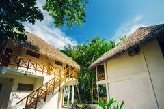 Hotel house at tropical island resort Stock Photos