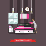 Hotel housekeeping vector illustration in flat style Royalty Free Stock Images