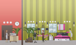 Hotel housekeeping vector illustration in flat style Royalty Free Stock Photography