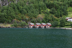 The hotel houses on the shore of the Sognefjord, Norway Royalty Free Stock Photos
