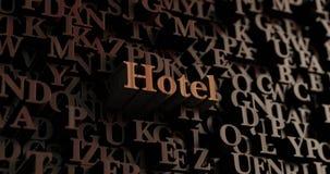 Hotel - Houten 3D teruggegeven brieven/bericht Stock Fotografie